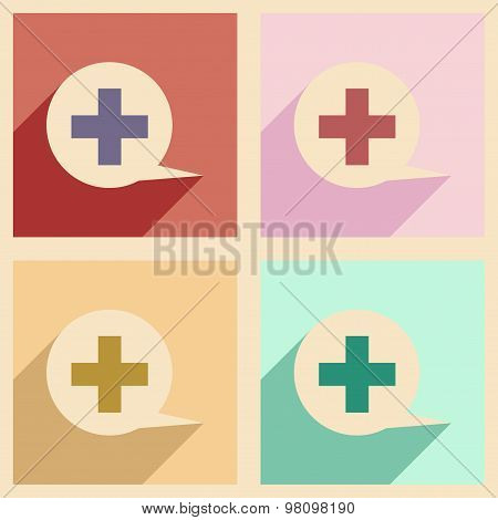 Flat with shadow concept and mobile application logo medical consultation