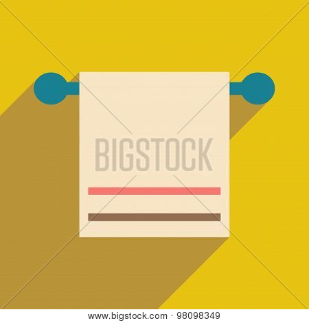 Flat with shadow icon and mobile application towels