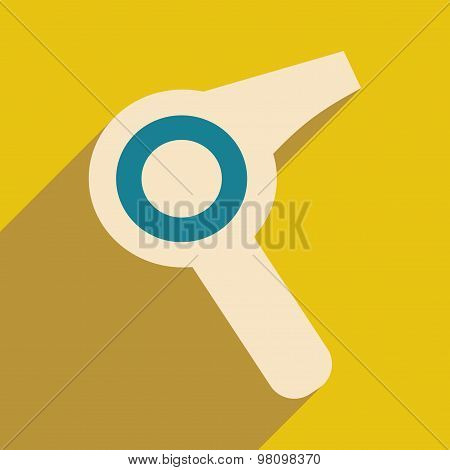 Flat with shadow icon and mobile application hairdryer