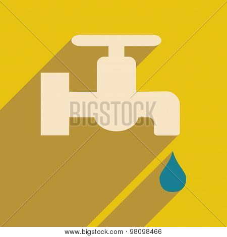 Flat with shadow icon and mobile application kitchen Faucet