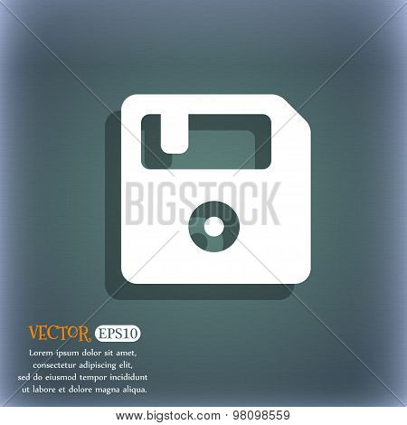 Floppy  Icon Symbol On The Blue-green Abstract Background With Shadow And Space For Your Text. Vecto