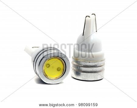 Old Small Led Bulbs On A White Background