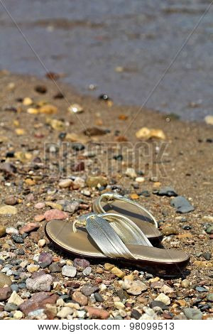 Womens Shiny Gold Sandals
