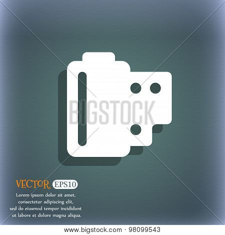 35 Mm Negative Films  Icon Symbol On The Blue-green Abstract Background With Shadow And Space For Yo