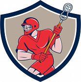 Lacrosse Player Crosse Stick Running Shield Cartoon poster