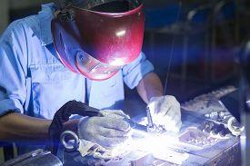 stock photo of tig  - Welding work by TIG welding to repair mold - JPG