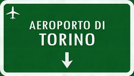 stock photo of torino  - Torino Italy Airport Highway Sign 2D Illustration - JPG