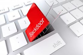 stock photo of underpass  - computer keyboard with red enter key hatch underpass ladder backdoor - JPG