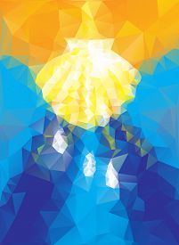 picture of baptism  - baptism symbol in triangular style blue and gold colours - JPG