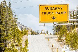stock photo of runaway  - Runaway Truck Ramp and Road Sign  - JPG