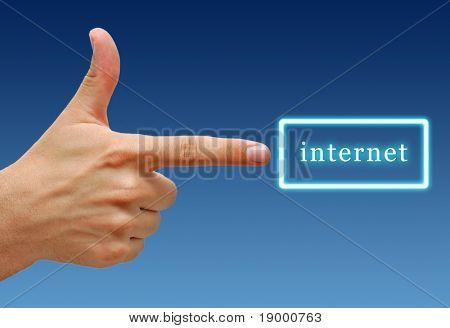 Hand showing Internet sign