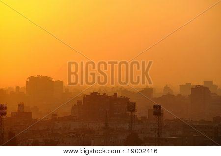 Cairo cityscape with Pyramids