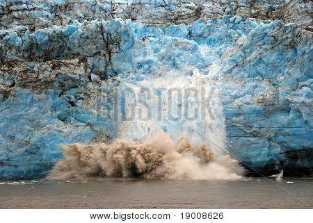 Calving Ice On A Glacier