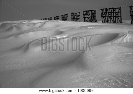 Perspective, Snow Desert And Fence