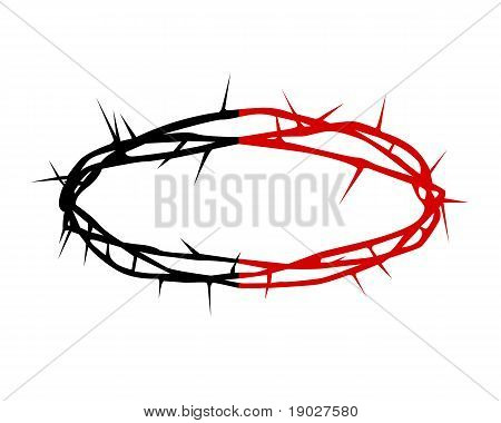 Black And Red Silhouette Of A Crown Of Thorns