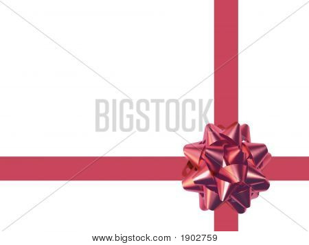 Red Decoration Bow Isolated On White. (With Clipping Path)