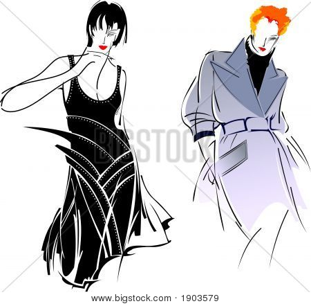 Chica de moda gris negro