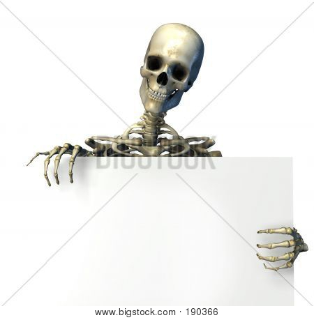 Skeleton Holding Sign Edge
