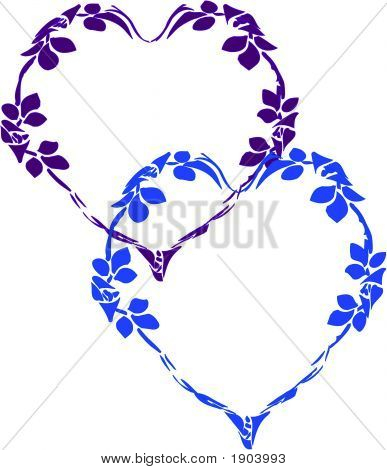 Overlapped Floral Hearts.Eps