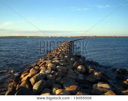 A historical seawall in Pärnu Gulf.