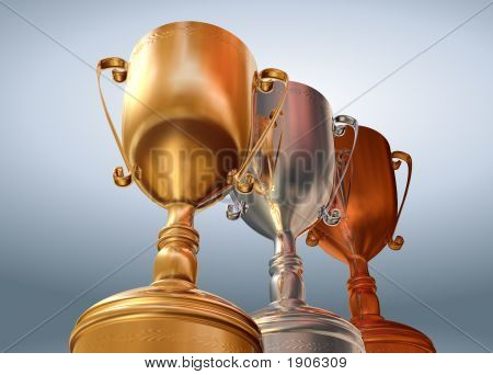 Gold Silver And Bronze Cups