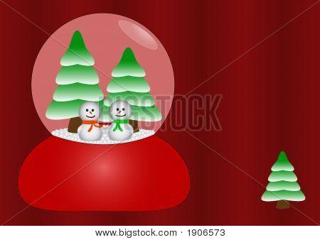 Happy Snowmen In Glass