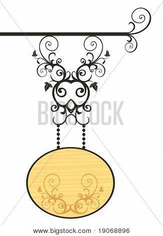 Placa de madeira com Floral