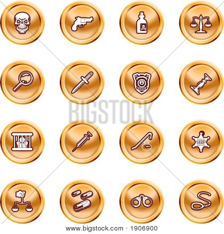 Law, Order, Police And Crime Icon Set