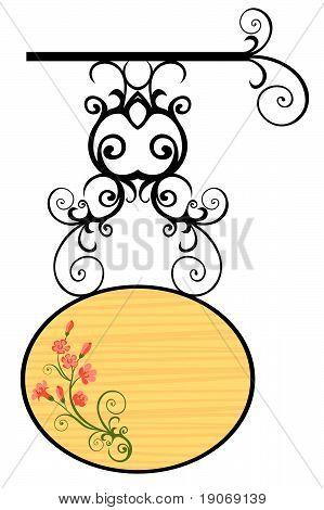 Placa de madeira com flores.