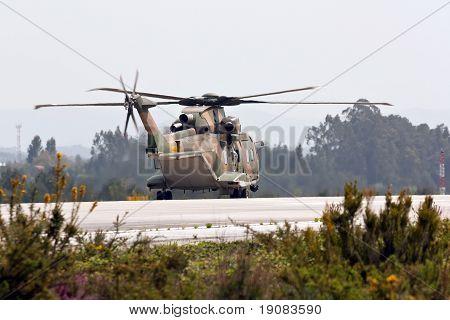 Monte Real, Portugal-april 7: Agusta-westland Eh-101 Merlin Portuguese Preparing For Take Off. Parti