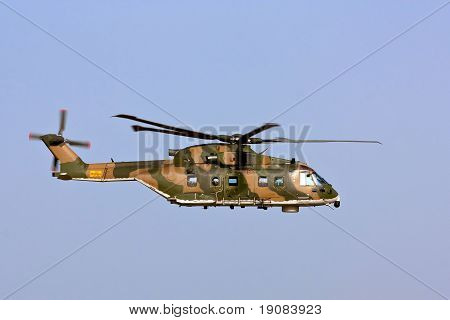 Monte Real, Portugal-april 7: Agusta-westland Eh-101 Merlin Portuguese At Runway Approach. Participa