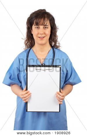 Female Doctor Showing A Blank Clipboard