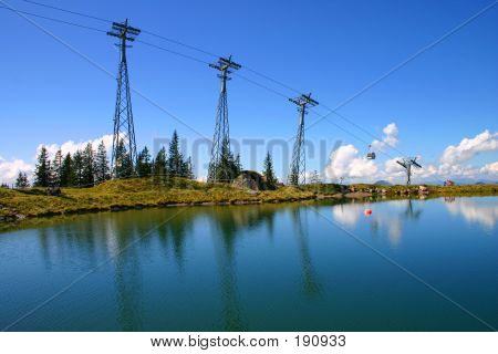Cable Car Over Lake