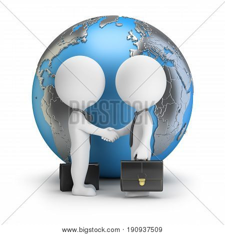 3d small people - two businessmen shake hands with each other against the background of the globe. 3d image. White background.