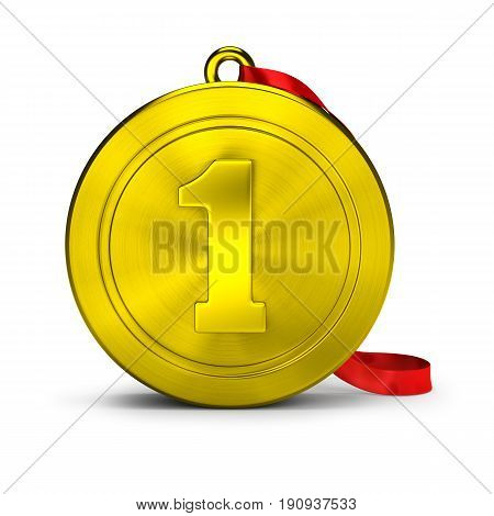 Gold medal. 3d image. Isolated white background.