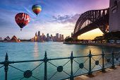 Hot Air Balloon Over Sydney Bay In Evening, Sydney, Australia poster