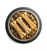 Dog chew bone and dry kibble dog food in bowl isolated on white background. poster