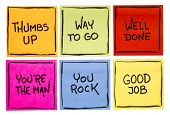 way to go, good job, well done, youre the man, thumbs up, you rock - a set of isolated sticky notes poster