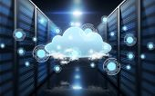 computing and technology concept - virtual cloud hologram over futuristic server room background poster