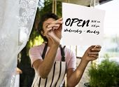 Open available business launch phrase poster