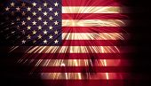 crowd celebrating Independence Day. United States of America USA flag with fireworks background for  poster