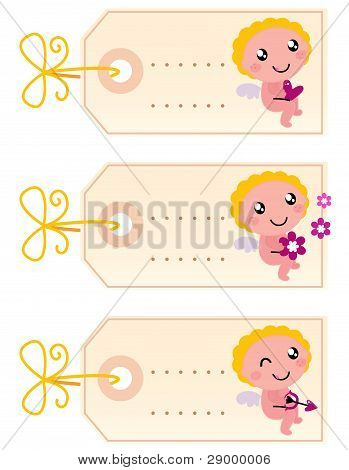 Valentine's Blank Tags With Angel Isolated On White