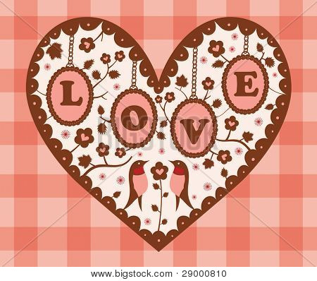 Birds with Love Shape Flower Garden. Paper Cutouts. Valentine's Day Design.