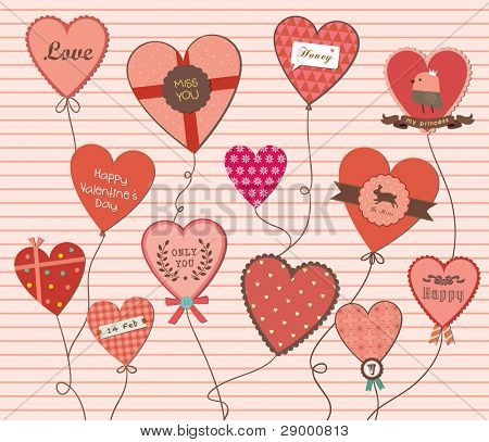 A Lot of Love Shapes Balloon Beautiful Background. Valentine's Day.