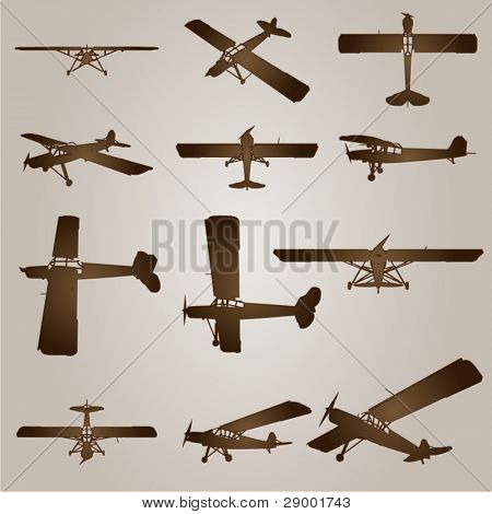 Vector vintage old set of brown planes drawings on a beige background. It is a group or collection of aircraft ideal for grungy, travel, flight,transport,retro,antique,business or commercial designs