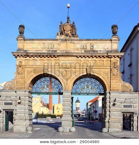 PILSEN CZECH REPUBLIC - JANUARY 18: historic gate to famous Czech Prazdroj Brewery. Since 1842 produces most popular pilsener beer, January 18, 2012, Czech Republic.