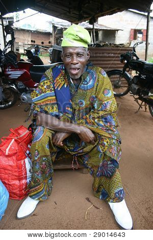 A Shaman or witch doctor at the voodoo market in Lome, Togo