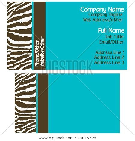 Brown & Blue Zebra Business Cards