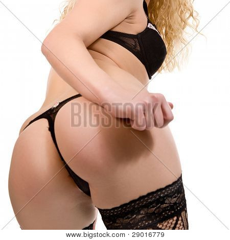 ass of young woman. Isolated on white