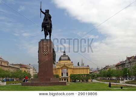 Statue of king Tomislav in city park in Zagreb-Croatia